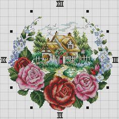 "Photo from album ""часы,вышивание"" on Yandex. Cross Stitch House, Cross Stitch Bird, Cross Stitch Flowers, Cross Stitching, Funny Cross Stitch Patterns, Cross Stitch Charts, Cross Stitch Designs, Learn Embroidery, Cross Stitch Embroidery"