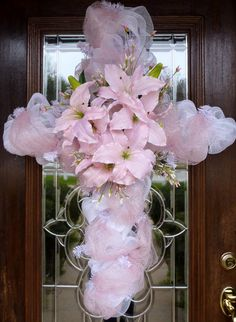 Deco Mesh EASTER CROSS WREATH
