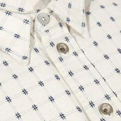 Paul Smith Men's Shirts | Ecru Jacquard Check Denim Shirt