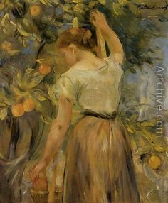 Young Woman Picking Oranges - Berthe Morisot