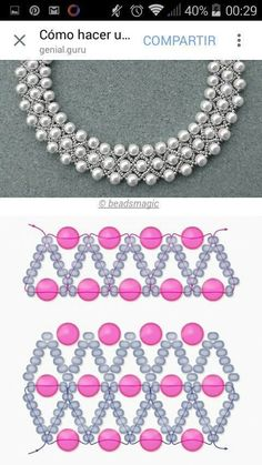 Best 12 Free pattern for beaded necklace using seed beads and pearls. DIY bead jewellery making – Page 625859679446730212 Seed Bead Jewelry, Bead Jewellery, Jewelry Making Beads, Jewelry Necklaces, Seed Beads, Making Bracelets, Jewelry Findings, Jewellery Making, Jewelry Box