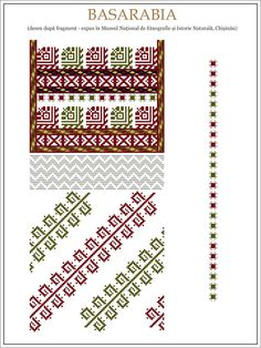 Semne Cusute: ie din BASARABIA Folk Embroidery, Embroidery Patterns, Cross Stitch Patterns, Knitting Patterns, Hama Beads, Cross Stitching, Beading Patterns, Pixel Art, Folk Art