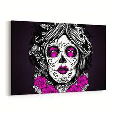 Sugar Skull Girl Canvas Print - GearBunch Leggings / Yoga Pants photo transfer to canvas, makeup canvas painting, kitchen canvas art Fall Canvas Art, Tree Canvas, Diy Canvas Art, Abstract Canvas, Acrylic Painting Canvas, Canvas Ideas, Canvas Canvas, 3 Canvas Paintings, Canvas Prints