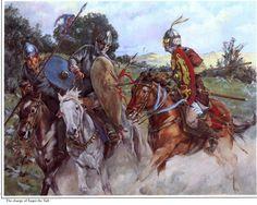 "A Saracen cavalryman named Yaqut ""the tall"", attacking two frankish Christian horseman. Art by Christa Hook."