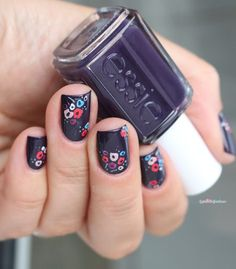 essie fall collection 2016 go go geisha kimono over eggplant violet flower nail… Nail Art Designs, Flower Nail Designs, Diy Nails, Cute Nails, Pretty Nails, Fabulous Nails, Perfect Nails, Do It Yourself Nails, Fall Collection