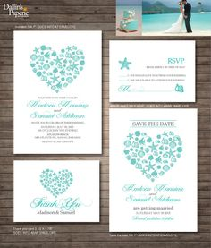 Destination or beach wedding with Unique one of a kind heart No printed materials will be shipped. You can print as many as you want! How it