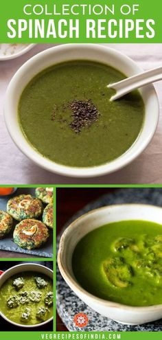 Spinach is very healthy for anyone, but besides salad, what can you make with it? Well, you are in luck! We have come up with a list of 34 Indian spinach recipes that are sure to be dinner hits! All of these recipes can be served with rice or aloo (potatoes) or can be made into saag (a popular Indian dish). Try one of these recipes this week! #Indianfood #vegetarian #healthy #authentic #dinner Pakora Recipes, Paratha Recipes, Paneer Recipes, Curry Recipes, Indian Food Recipes, Ethnic Recipes, Easy Spinach Recipes, Tasty Vegetarian Recipes, Healthy Recipes