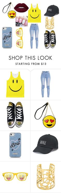 """smiley faces :)"" by f00disbae4ever on Polyvore featuring Converse, Olivia Miller, Skinnydip and SO"