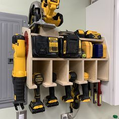Power Tool Storage, Garage Tool Storage, Garage Tools, Diy Storage, Power Tool Organizer, Dewalt Storage, Power Tools, Garage Workshop Organization, Workshop Storage