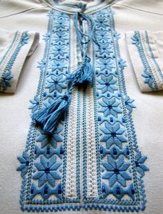Traditional Hand Embroidered Boy's Shirt, Ukrainian sorochka, for age of years Diy Embroidery Patterns, Embroidery On Kurtis, Hand Embroidery Dress, Border Embroidery Designs, Kurti Embroidery Design, Embroidered Clothes, Embroidery Fashion, Beaded Embroidery, Cross Stitch Embroidery