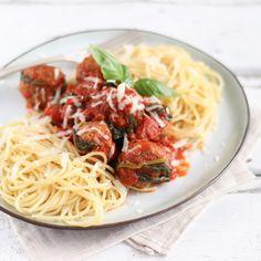 Spaghetti met Gehaktballetjes en Spinazie