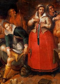 red petticoat that laces up the front, underneath a jacket. Detail from the Witches' Kitchen by Francken, c. 1610.