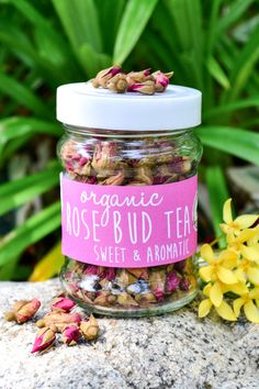 Organic Rose Bud Tea in a JAR  60g // Skin by LannaCafeOrganics