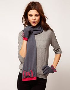 Enlarge Alice Hannah Exclusive to Asos Stripe Bow Glove & Scarf Set