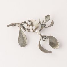 Mistletoe Brooch Pin by Michael Michaud Mistletoe Plant, Jewelry Art, Silver Jewelry, Pearl Earrings, Drop Earrings, White Freshwater Pearl, Bellisima, Art Nouveau, Necklaces