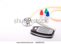 Stethoscope and glucose test kit with lancet and solution bottles.