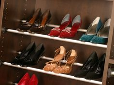 California Closets DFW shoe storage - shoe rails