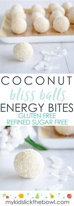coconut snowballs, bliss balss, easy refined sugar free recipe, an allergy friendly energy bite