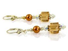 Handmade Topaz Crystal Cube Beaded Earrings – SWCreations