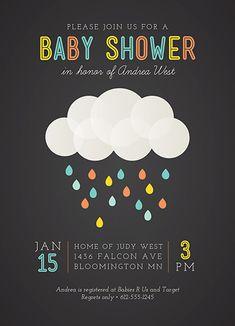 baby shower invitations - Rainbow Droplets by Iron Range Artery