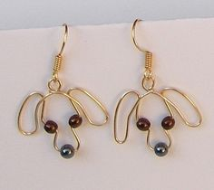 Gold Wire Dog Earrings - 1 pair