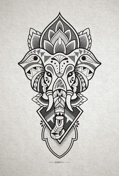 Tattoo designs that you want to put everywhere on you - Tattoos Models Elephant Head Drawing, Elephant Head Tattoo, Elephant Tattoo Design, Mandala Tattoo Design, Tribal Tattoo Designs, Buddha Tattoo Design, Mandala Drawing, Geometric Tattoos, Head Tattoos
