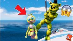 GOLDEN FREDDY HITS ADVENTURE TOY CHICA OFF THE SHIP! (GTA 5 Mods For Kid...
