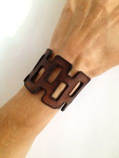 Brown Leather Bracelet Cuff  Cut Out by ChristyKeysCreations, $30.00