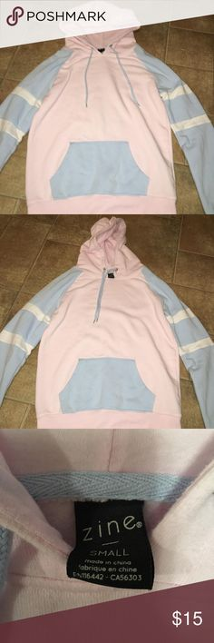 Sweatshirt from Zumiez Pink & babyblue sweatshirt. Worn once! Very comfortable, soft material. Zine Clothing Sweaters