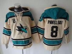 San Jose Sharks Jersey 8 Joe Pavelski Cream Sawyer Hooded Sweatshirt Stitched NHL Jerseys