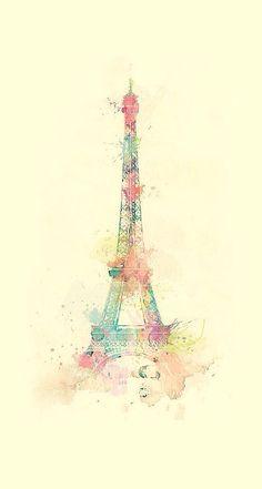 Eiffel Tower Watercolor Paint iPhone 6 Plus HD Wallpaper
