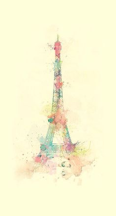 Eiffel Tower Watercolor Paint iPhone 6 Plus HD Wallpaper