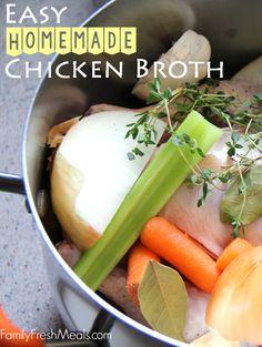 Easy Homemade Chicken Broth - FamilyFreshMeals.com #recipe #broth #homemade