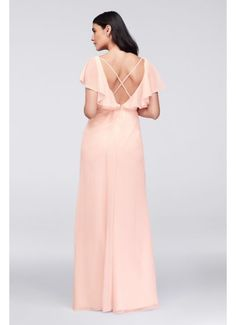 c8b9227bdbe Flutter Sleeve Crinkle Chiffon Bridesmaid Dress W11446 Plum Bridesmaid  Dresses, Bridal Wedding Dresses, Bridesmaids