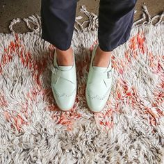 Our 'Parrot' broguedmonk straps are back in mint leather. Yippeee!  Shop new arrivals now via link in bio.