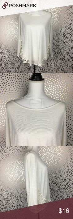 Painted Threads Ivory Floral Eyelet Top L Semi Sheer Ivory Knit Top with floral Eyelet detail. 😍😍 Super cute with jeans and a cute scarf 😍😍 Size: Large  Excellent preloved condition. ❤️💓💜 **Happy Shopping** painted threads Tops Blouses