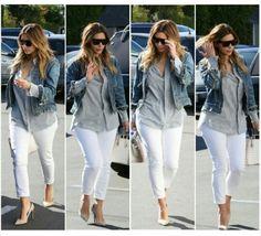 White pants; jean jacket;  gray pin stripped collar