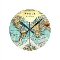 World map wooden clock magnetic clock vintage clock little clock vintage world map clock gumiabroncs
