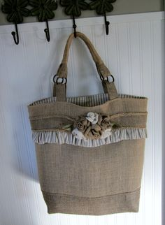 Burlap Flowers Tote Purse Bag by kakaymarie on Etsy, $85.00