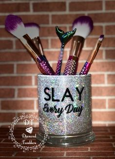 Glitter Crafts, Glitter Wine, Glitter Cups, Bra Holder, Makeup Brush Holders, Makeup Jars, Wine Glass Sayings, Makeup Containers, Diy Makeup Storage