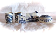 Vintage Hand Painted Delft 6 Item Set by LasLovelies on Etsy