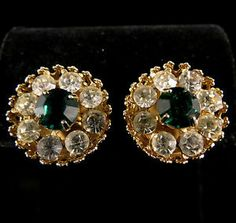 Coro Signed Earrings Gold Tone with Green and Clear Rhinestones | eBay