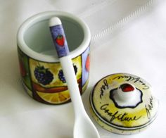 Festive And Vibrant Porcelain Jam Jelly Jar With Spoon by Jjantiq