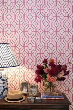 How cute is this wallpaper!?!?  Rosey Posey Trellis in pink by Anna Spiro for Porter's Paints