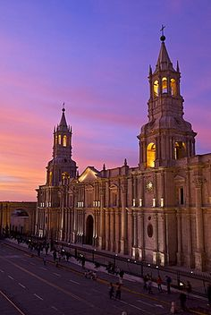 Arequipa Cathedral at sunset on Plaza de Armas, Arequipa, UNESCO World Heritage Site, Peru, South America .