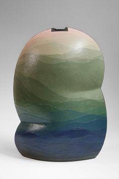 by Zenji Miyashita (Japanese).     Thin layers of colored clay.