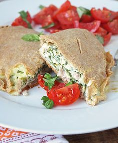low carb + gluten free ham and spinach calzones  {use well-drained ricotta and thawed chopped spinach, dried well--too much moisture will make these calzones soggy}