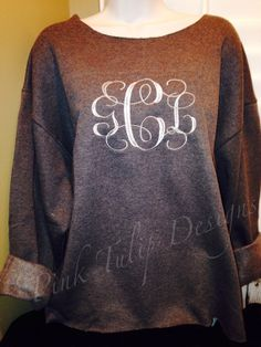 Oversized Sweatshirt with Large Monogram by PinkTulipOfDaphne, $28.00 Im seriously obsessed with these so cute with leggings and boots on a cold lazy day!!