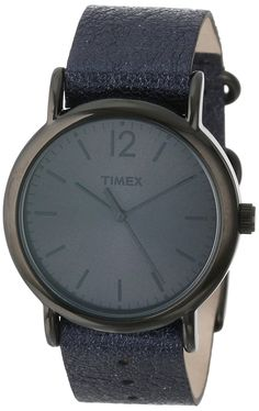 Timex Women's T2P3379J Weekender Metallic Black Slip-Thru Leather Strap Watch >>> Check out the watch by visiting the link.