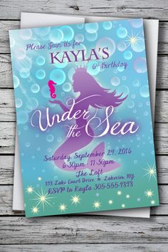 Mermaid Under the Sea Theme Birthday Party Invitation